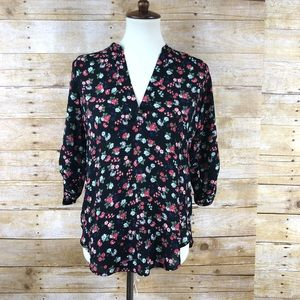 Lush 3/4 Sleeve Floral Tunic Blouse Sz XS